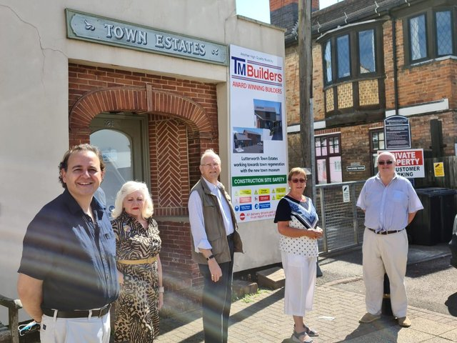 Alberto Costa MP with Geraldine Robinson and other trustees at the new museum site in Lutterworth.