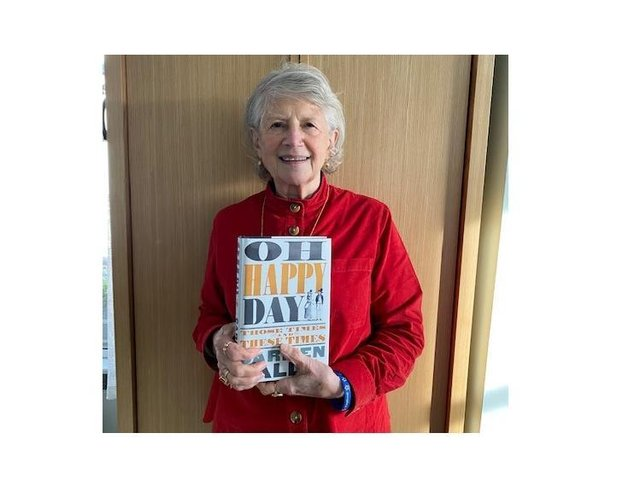 Well-known publisher, writer and critic Dame Carmen Callil with her book, 'Oh Happy Day - Those Times and These Times'.