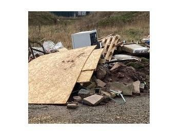 """The """"filthy mess"""", feared to include human waste, has been created by the entrance to Greenacres travellers' site on Leicester Road to the north of the town."""