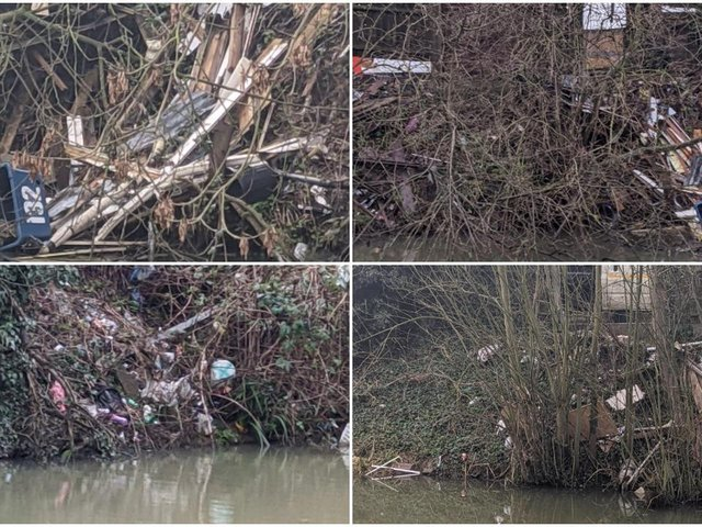 Images of the fly-tipping on the Grand Union Canal in Market Harborough.