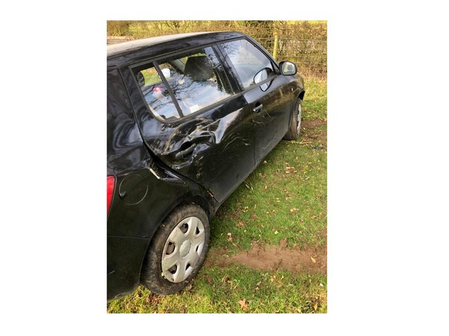 A driver had a miraculous escape after careering off the road and flying over a hedge near Lutterworth last night (Tuesday).