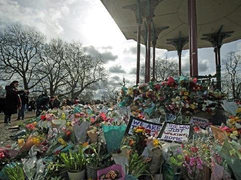 Flowers placed in London in memory of Sarah Everard.