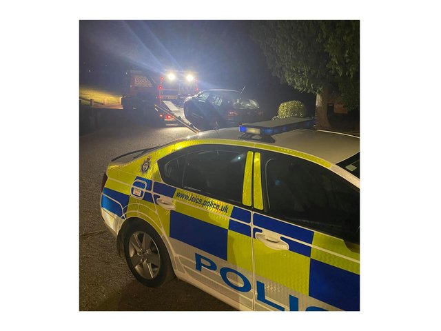 Police have seized drugs from a car in Market Harborough tonight (Thursday) after stopping the vehicle that should not have been on the road.