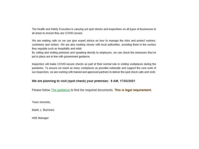 Harborough council is warning people who get the email, signed by 'Mark J Burrows', to delete it immediately and not click on any links or open any attachments.