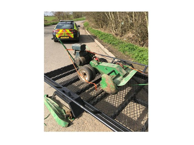 Police have recovered a valuable mower and trailer tucked away in a rural lay-by near Lutterworth.
