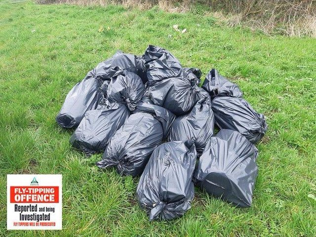 The offenders piled up at least a dozen black binbags stuffed with waste on Gartree Road, King's Norton, in the north of Harborough district.