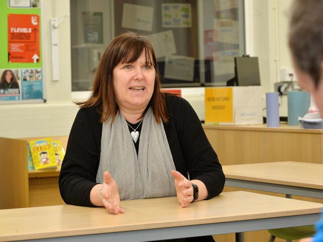 Nicki Burgess's day-to-day job is as personal assistant to Julie McBrearty, the head at Welland Park Academy. But she has stepped in to the breach to take over as team leader as over 3,000 coronavirus tests have been carried out on students, teachers and staff.  Photo by Andrew Carpenter.