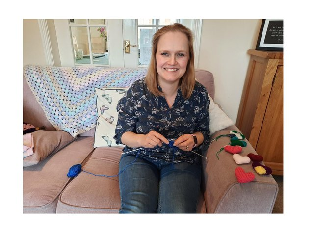 In between looking after patients at hospitals in the East Midlands, Emily Murphy has started knitting hearts for friends and loved ones which will act as a 'hug' in our new socially-distanced world.