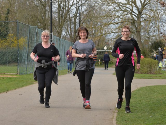 Stepping out...Deb Durno, Annabel Beaty and Katherine Mail join up for a run in Welland Park on the first day where up to six people can meet outside. PICTURE: ANDREW CARPENTER
