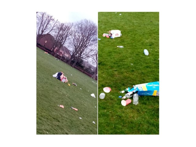 This was the mess left behind after police had to move on huge groups of late-night revellers at parks in Harborough and Kibworth