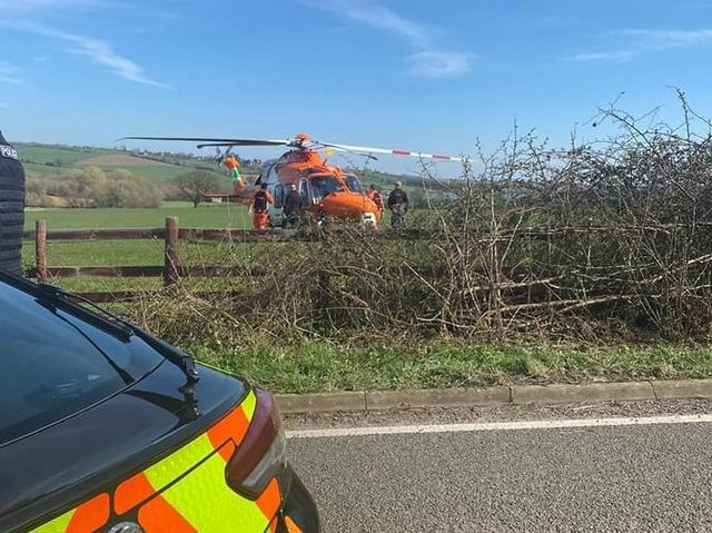 An air ambulance was called to the scene of a crash yesterday near Stockerston. Photo by Market Harborough and Lutterworth Police.