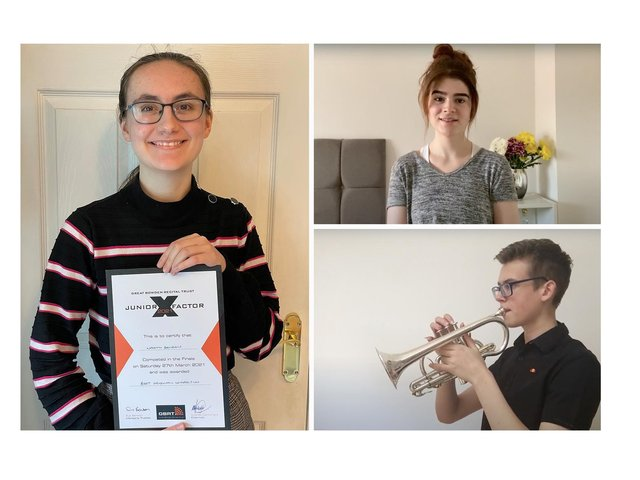 The three category winners Naomi Benson (Best Original Composition), Ione Banks (Best Vocal Performance and Overall Winner) and Ciaran Reiff-Marganiec (Best Instrumental Performance).