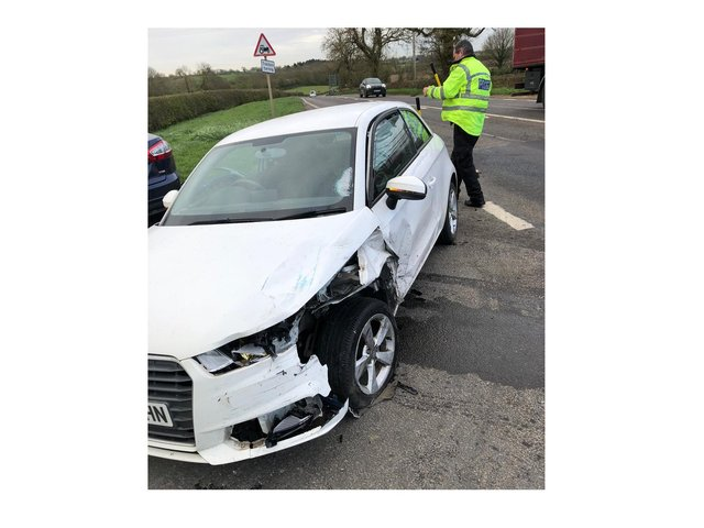 The crash happened at about 8.10am on the A426 Lutterworth Road near the village of Dunton Bassett as overnight temperatures plunged below zero.