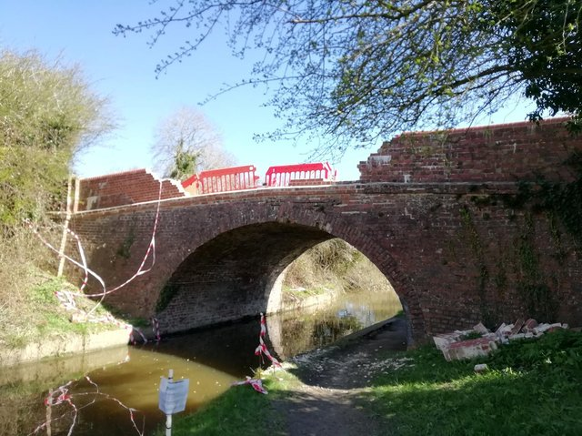 A country road has had to be closed and that stretch of canal shut to narrow boats while emergency repairs are carried out to the bridge – which is over 100 years old.