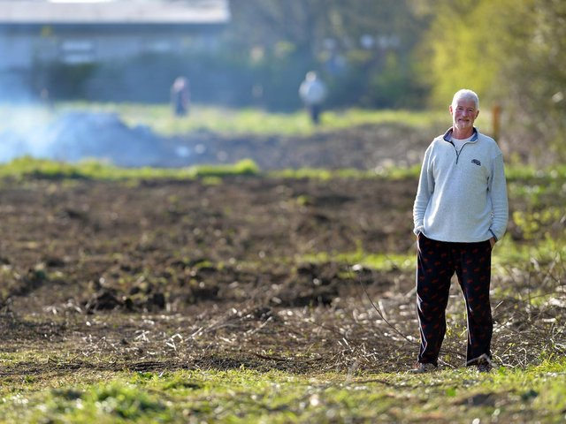 Resident Tim Bourne at the site off The Ridgeway where work has started to clear bushes and is the feeding territory for barn owls and lots of wildlife. PICTURE: ANDREW CARPENTER