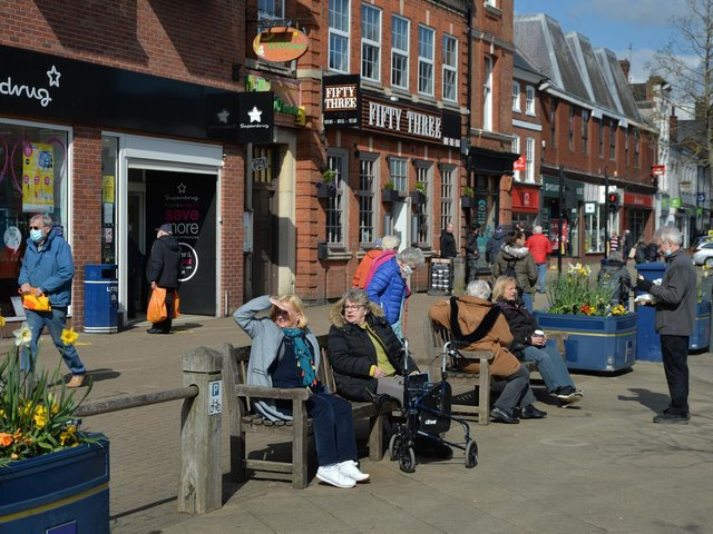 Busy on the Square in Market Harborough. PICTURE: ANDREW CARPENTER