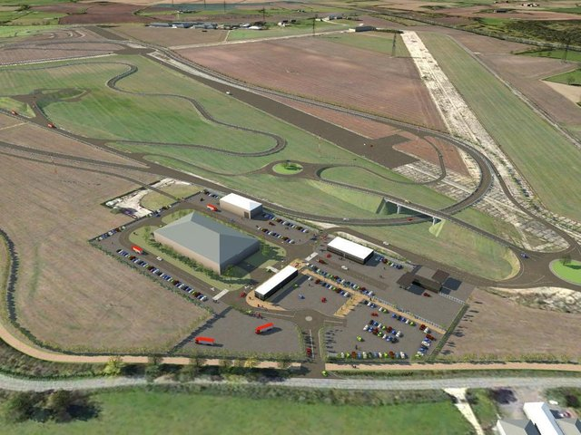 Planning and development experts at Andrew Granger & Co have pulled out all the stops as Oakley Airfield is transformed into a state-of-the-art testing facility for automated car technology. Here is an artist's impression of the site.