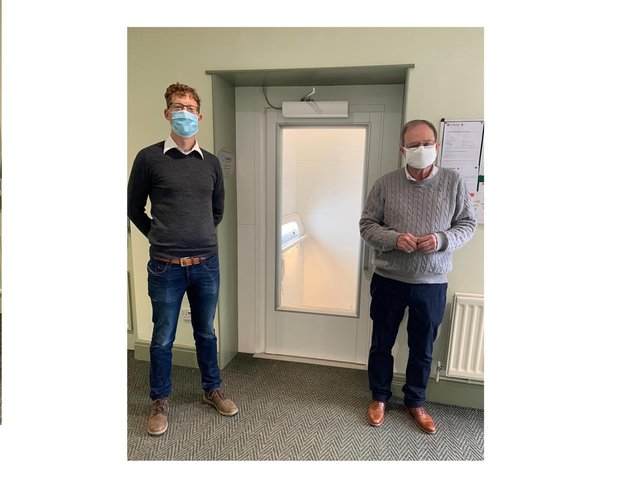 Checking out the new lift at Lutterworth Town Hall - left, Jamie Prpa, manager at the nearby Tarmac Cotesbach landfill site; and right, Stephen Walkley of the Lutterworth Town Hall committee.