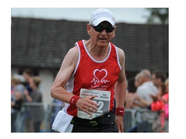 Bill Kerr running for the BHF at the Harborough Half Marathon.