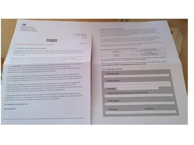 Companies nationwide are getting bogus letters telling them to buy air purifiers to comply with Covid-19 rules.