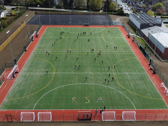 The stunning floodlit state-of-the-art sporting facility at Robert Smyth Academy on Burnmill Road has cost almost £1 million.
