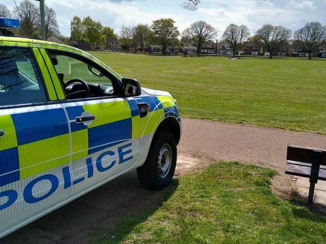 Police are patrolling a park in Lutterworth this afternoon (Friday) after people caused trouble there yesterday.