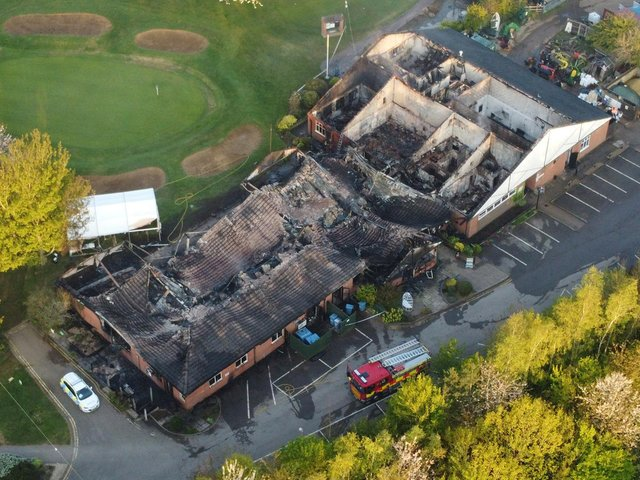 An aerial photo of the damage after a major fire at Lutterworth Golf Club. Photo by Andrew Carpenter.