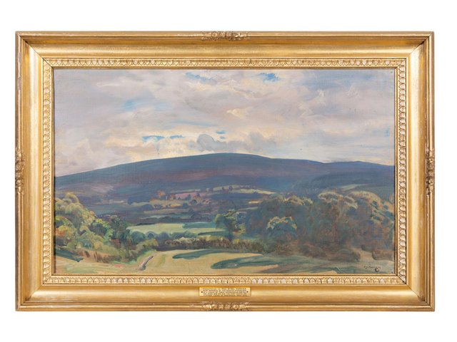 'View from Selworthy', an oil painting by British artist Sir Alfred J Munnings.
