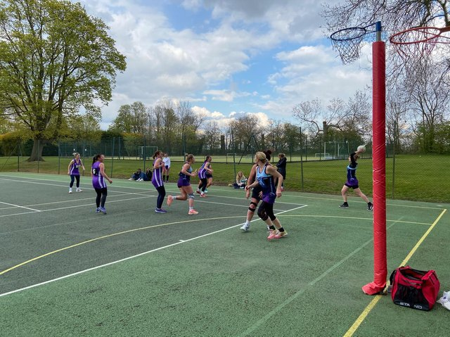 Action from the match between MHBCs and Harborough Harriers in the Market Harborough Netball League
