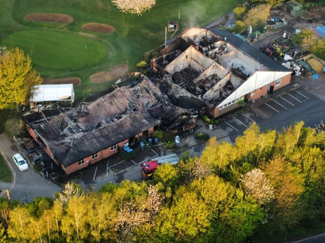 An aerial view of the fire damage at Lutterworth Golf Club. Photo by Andrew Carpenter.