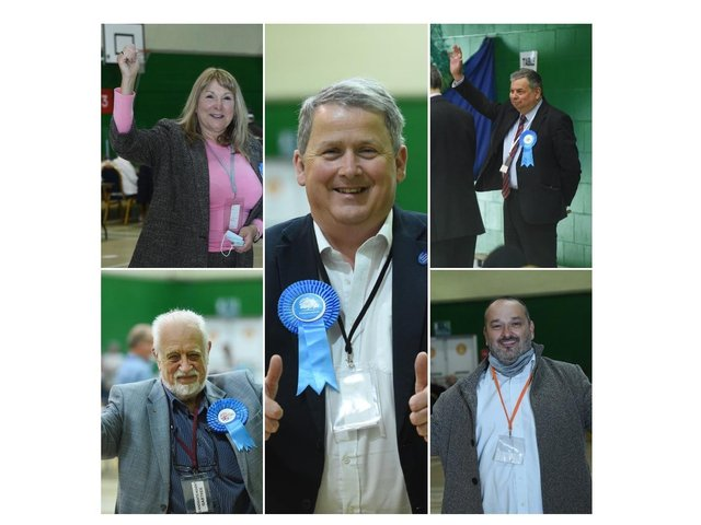 Some of the winning Conservative councillors.