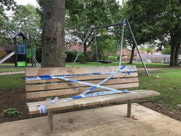 The scene of the attack in Edward Road play park in Fleckney on August 20