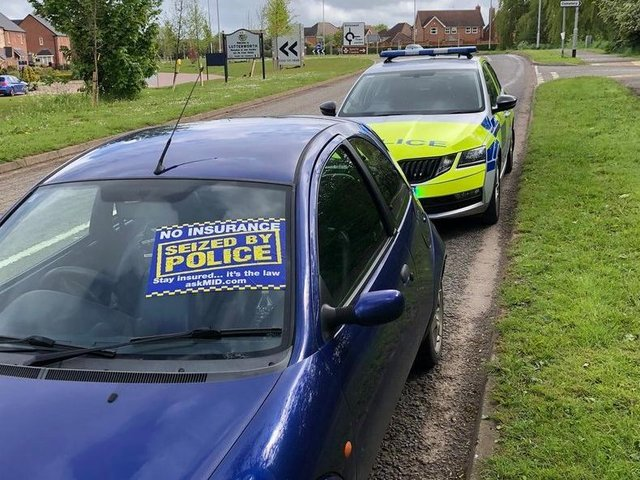 The driver of this car faced a long walk home in the rain after they were stopped by police in the Lutterworth area.