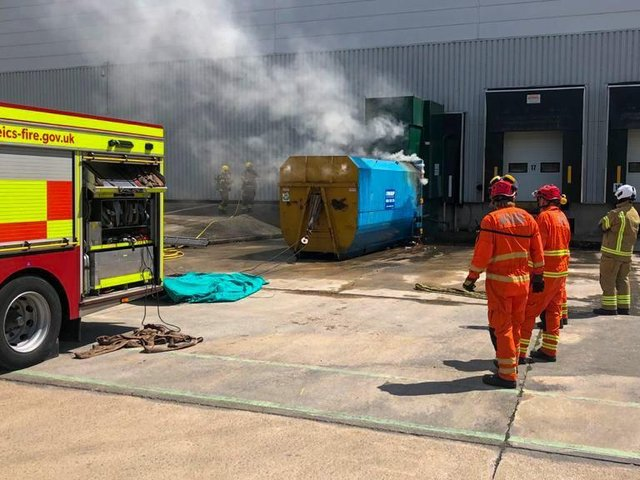 Firefighters raced to fight a blaze at Magna Park near Lutterworth yesterday (Thursday).
