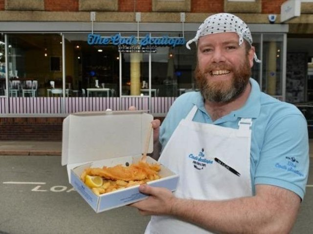 Nick Clewley outside The Cod's Scallops in Market Harborough. PICTURE: ANDREW CARPENTER