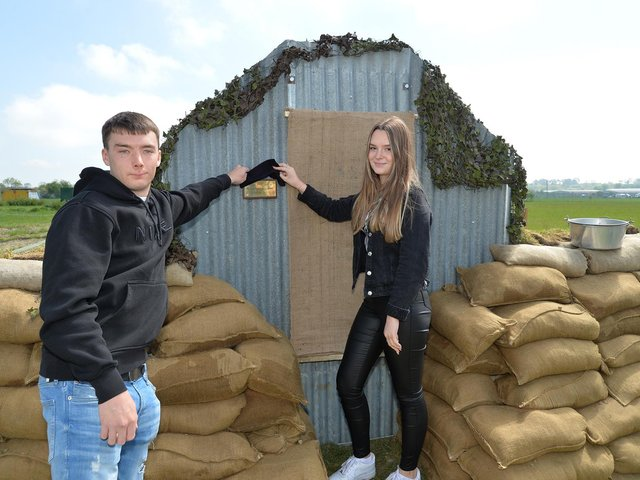 Matthew Oliver and Amy Oliver unveiled the plaque on the Anderson shelter. PICTURE: ANDREW CARPENTER