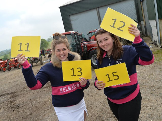 Minnie Burgess-Lumsden and Megan Rogers before the start of the Northants YFC 2021 charity tractor run. PICTURE: ANDREW CARPENTER