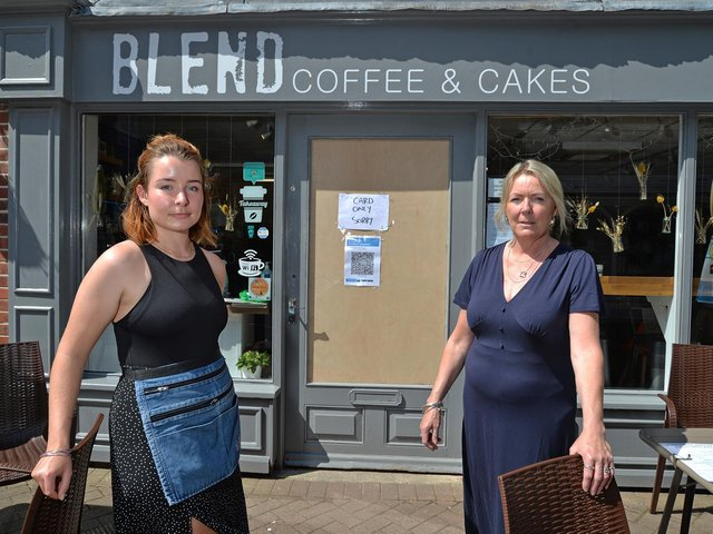 Owners Ellie and Hazel Duffin after the break-in at Blend coffee shop in Manor Walk. PICTURE: ANDREW CARPENTER
