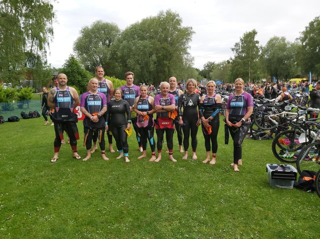 The Welland Valley Triathlon Club contingent who competed at Tallington Lakes