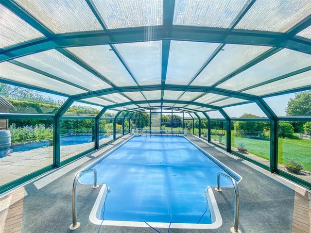 The amazing swimming pool with views across the Harborough countryside