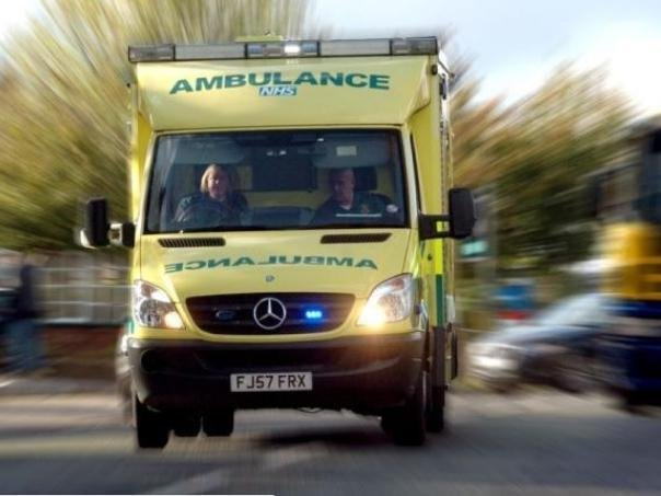 A woman was injured after three cars collided near a Harborough district village this afternoon.