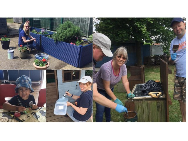 Fifty volunteers have got together to help spruce up a Market Harborough primary school as it gears up to celebrate its 50thanniversary.