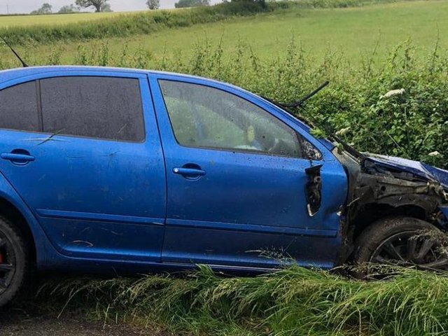 A Market Harborough man was arrested by police today (Friday) on suspicion of drink-driving after a car crashed into a hedge.