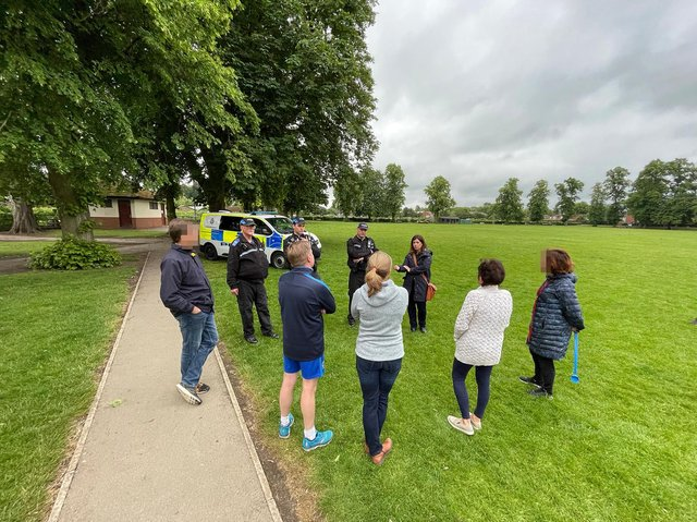 Police and concerned residents visit some of the hot spots at Little Bowden recreation ground. PICTURE: ANDREW CARPENTER