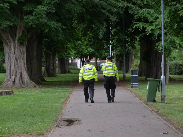 Police on patrol at Little Bowden Recreation Ground.