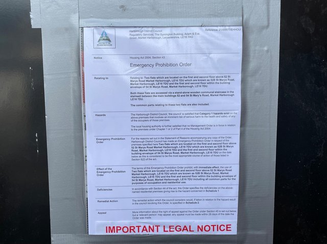 """The two """"dangerous"""" flats on St Mary's Road were shut down by Harborough council on Friday (July 2)."""