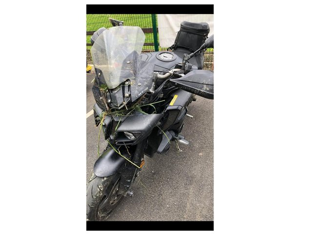 A motorcyclist is being treated at hospital after he crashed into a field near a Harborough village this afternoon (Tuesday).