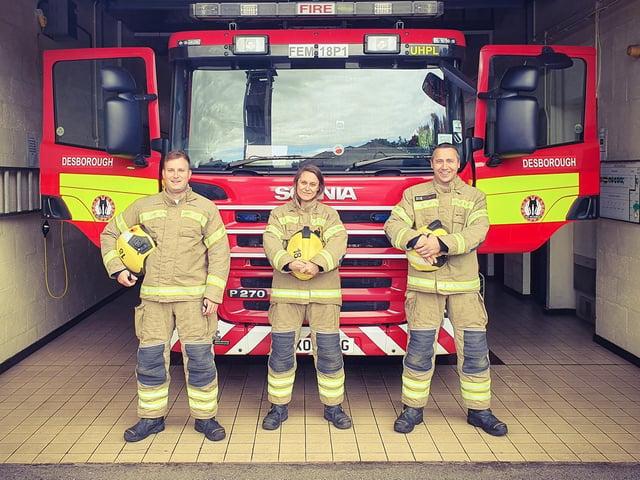 Firefighter Stuart Tomlin, Firefighter Mel Barker and Firefighter Ian Jarvis.